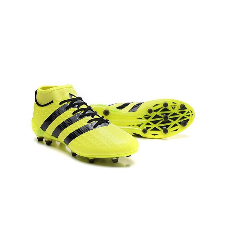 Nuovo 2016 adidas Scarpe da Calcio ACE 16.1 Primeknit FGAG Giallo Nero