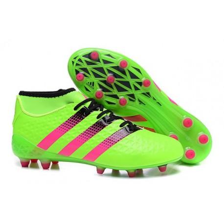 adidas Scarpe da Calcio ACE 16.1 Primeknit FG/AG Con Tacchetti Verde Rosa