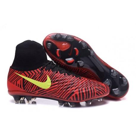 Nike Uomo Scarpa Calcio Magista Obra II FG Rosso Nero Giallo