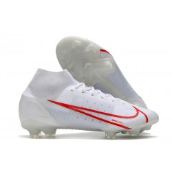 Nuovo Nike Mercurial Superfly 8 Elite FG Bianco Rosso