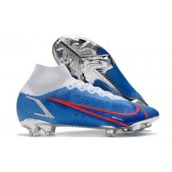 Nuovo Nike Mercurial Superfly 8 Elite FG Bianco Blu Rosso