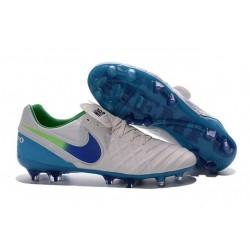 Scarpe da Calcio Nuovo 2016 Nike Tiempo Legend VI FG Pelle Bianco Blu