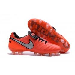 Scarpe da Calcio Nuovo 2016 Nike Tiempo Legend VI FG Pelle Arancione Bianco