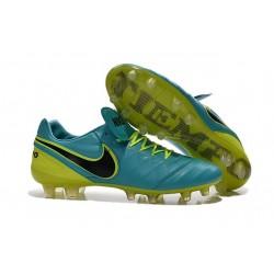 Scarpe da Calcio Nuovo 2016 Nike Tiempo Legend VI FG Pelle Blu Verde Nero
