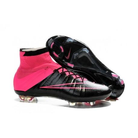 Nuove Scarpe Calcio Nike Mercurial Superfly Iv CR7 FG Pelle Nero Rosa