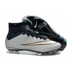 Nuove Scarpe Calcio Nike Mercurial Superfly Iv CR7 FG Metallico Bianco