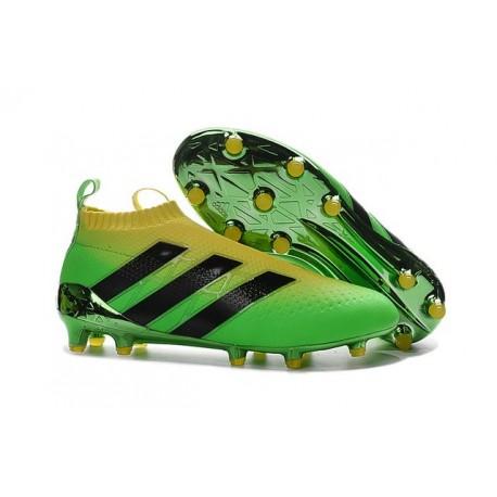Nuovo Scarpe da Calcio 2016 adidas ACE16+ Pure Control FG Verde Nero