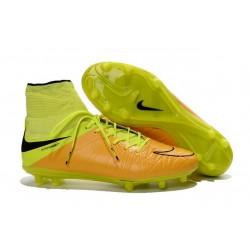 Nuovo Scarpa Nike Hypervenom Phantom 2 Tech FG Pelle Giallo Volt Nero