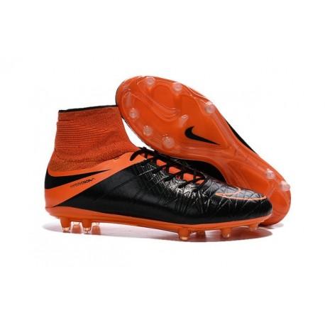 Nuovo Scarpa Nike Hypervenom Phantom 2 Tech FG Pelle Nero Arancio