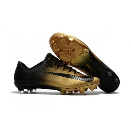 Nuovo Scarpe da Calcio Nike Mercurial Vapor XI FG Oro Nero