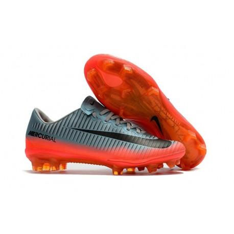 Nuovo Scarpe da Calcio Nike Mercurial Vapor XI FG Grigio Arancio