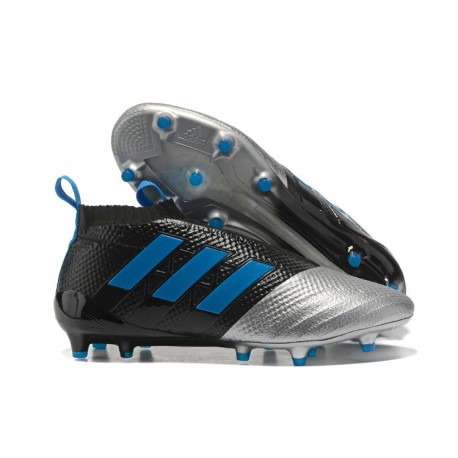 adidas Scarpa ACE 17+ PureControl Laceless FG - Nero Metallico Blu
