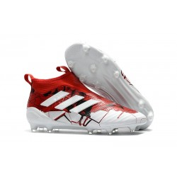adidas Scarpa ACE 17+ PureControl Laceless FG - Rosso Bianco