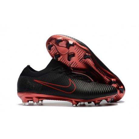 Scarpe da Calcio Nike Mercurial Vapor Flyknit Ultra FG - Nero Rosso