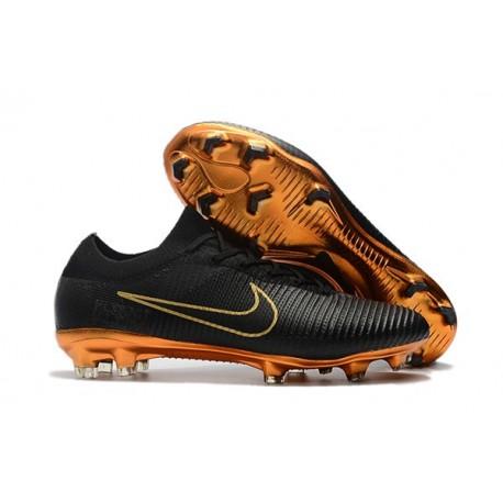 Scarpe da Calcio Nike Mercurial Vapor Flyknit Ultra FG - Nero Oro