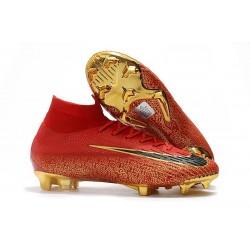 Ronaldo Nike Scarpa Mercurial Superfly VI Elite DF FG - Rosso Oro Nero